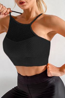 حمالة صدر رياضية نشطة مزخرفة شبكية سوداء اللون