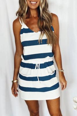 Mini vestido tirantes finos a rayas con cordón en la cintura azul oscuro