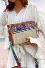 حقيبة كروس من القش بنمط عرقي كاكي