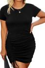 Vestido ajustado de manga corta con cuello redondo y cordón fruncido de talla grande negro
