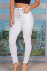 جينز أبيض بأزرار عالية الخصر