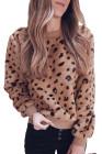 Braunes Fleece-Sweatshirt mit Rundhalsausschnitt und Leopardenmuster