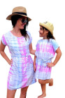 ファミリーマッチングキッドマルチカラー絞り染めTシャツドレス
