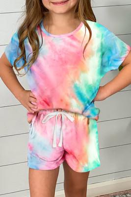 Rose Girl's Tie Dye T-Shirt und Shorts mit Kordelzug