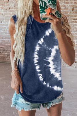 Camiseta sin mangas con efecto tie-dye azul