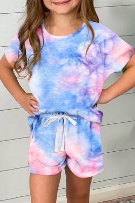 Set aus Batik-T-Shirt und Shorts mit Kordelzug für Mädchen in Himmelblau