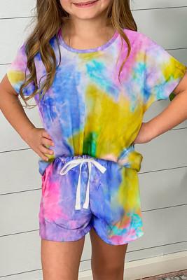 Gelbes Batik-T-Shirt für Mädchen und Shorts mit Kordelzug