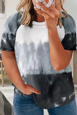 Camiseta gris de manga raglán con efecto teñido anudado y talla grande