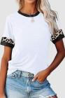 Camiseta blanca de cuello redondo con costuras de leopardo en contraste de color blanco