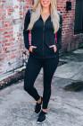 Conjunto deportivo negro de chaqueta y joggers de patchwork