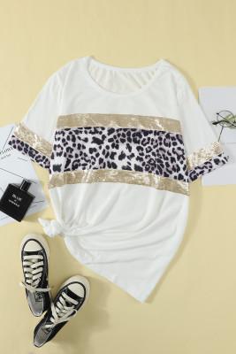Camiseta de talla grande con detalle de leopardo y lentejuelas