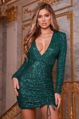 Mini vestido lentejuelas cuello en V profundo fruncido lateral manga larga verde