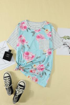Camiseta de rayas con estampado floral de talla grande