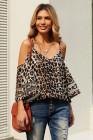 Blusa de leopardo con hombros descubiertos