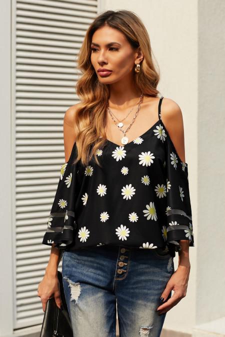 Blusa de hombros descubiertos con estampado floral de margaritas