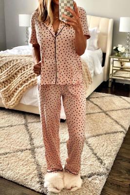 Ensemble pyjama rose à col cranté à imprimé pois