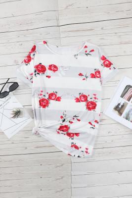 Blusa blanca de manga corta floral a rayas de talla grande