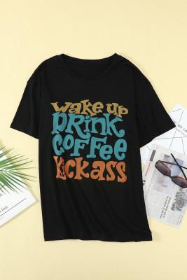 Letters Graphic camiseta negra de talla grande