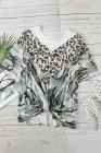 Camiseta de media manga con nudo torcido de empalme de camuflaje de leopardo de talla grande