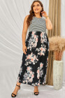 Vestido largo de rayas y flores de talla grande