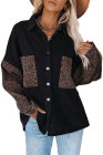 Черная контрастная джинсовая куртка с леопардовым принтом