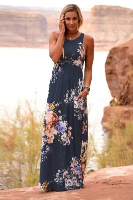 Námořnické květinové šaty s vysokým pasem