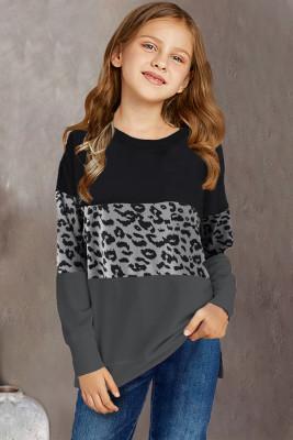 بلوزة طويلة الأكمام للأطفال بطبعة الفهد الأسود