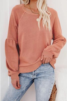 Оранжевый свитшот-пуловер с рукавами реглан в стиле пэчворк