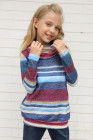 سويت شيرت مخطط بناتي أزرق بياقة متدلية