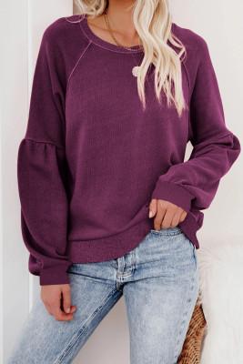 Пурпурный пуловер с рукавами реглан в стиле пэчворк