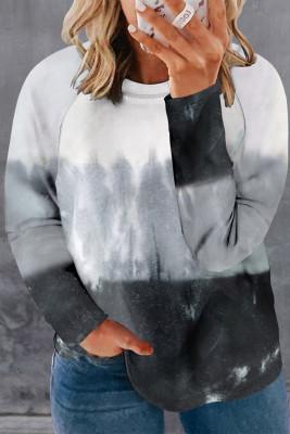 Top negro con cuello redondo y manga raglán con efecto tie-dye y talla grande