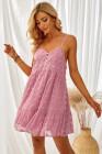 فستان قصير منقط باللون الوردي