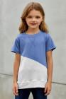 السماء الزرقاء Colorblock الربط المحملة فتاة صغيرة