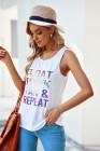 Camiseta sin mangas con estampado de letras multicolor