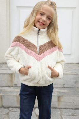 أبيض مخطط كتلة اللون البلوز نصف سحاب بناتي الصوف مع جيب
