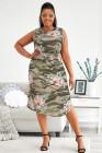 Vestido largo sin mangas con estampado floral de camuflaje y talla grande