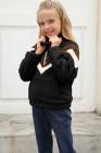 أسود مخطط كتلة اللون البلوز نصف سحاب بناتي الصوف مع جيب