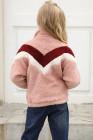 وردي مخطط اللون بلوك نصف سحاب بناتي صوف مع جيب