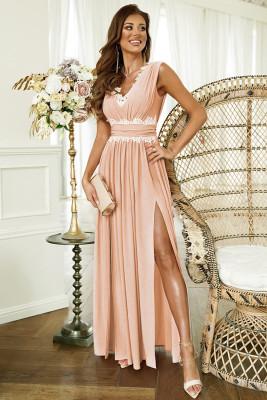 وردي - فستان ماكسي بياقة على شكل V بدون أكمام ومطرز بخصر مرتفع