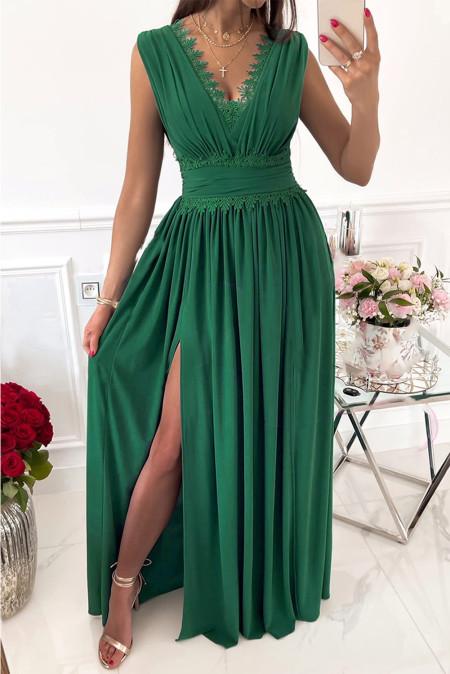 فستان ماكسي كروشيه أخضر بدون أكمام بياقة على شكل V وخصر مرتفع ومزين بكشكشة