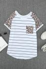 Camiseta con parche de leopardo a rayas y bolsillos