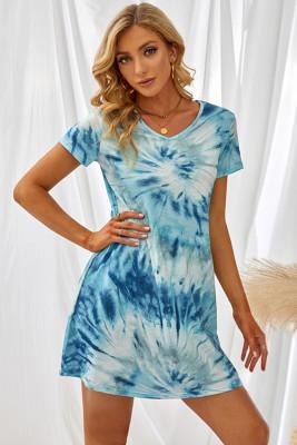 ブルー絞り染めTシャツミニドレス