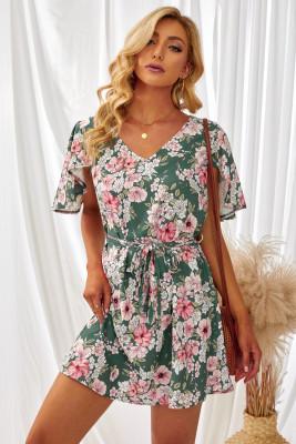 Зеленое платье с цветочным принтом и открытой спиной