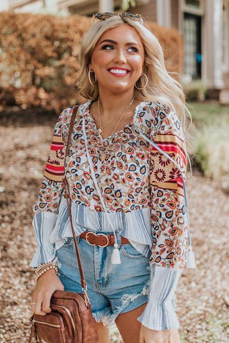 Blusa holgada de rayas florales
