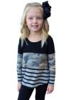بلوزة بناتي بأكمام طويلة وياقة مستديرة مخططة بألوان مموهة