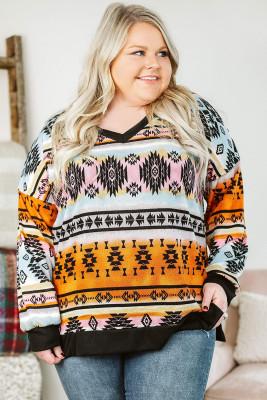 Top multicolor con cuello en V y hombros caídos con estampado azteca y talla grande