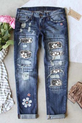 بنطال جينز بخصر مرتفع بطبعة جلد الفهد باللون الرمادي