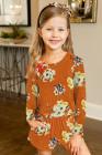 رومبير برتقالي طويل الأكمام للفتيات الصغيرات
