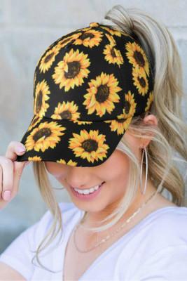 قبعة بيسبول بطبعة ذيل حصان بطبعة عباد الشمس
