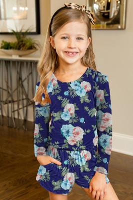 رومبير أزرق طويل الأكمام للفتيات الصغيرات